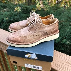 Sperry Gold Cup Wingtip Wedge Tan Oxfords Mens 7M